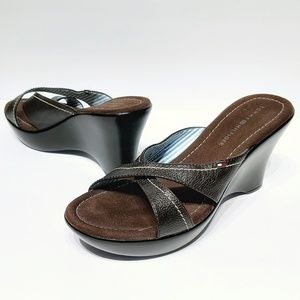 Tommy Hilfiger Brown Leather Wedge Sandals